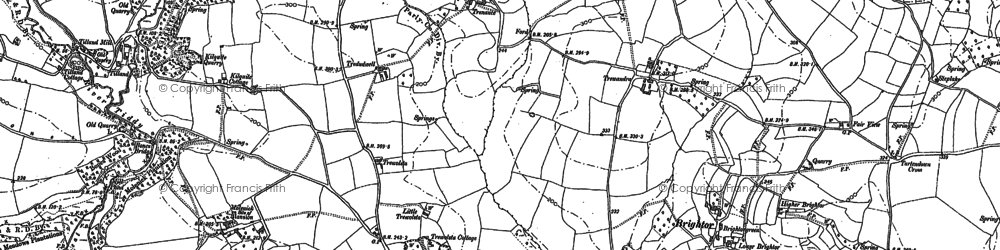 Old map of Tideford Cross in 1882
