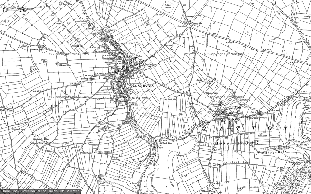 Old Map of Tideswell, 1879 - 1880 in 1879