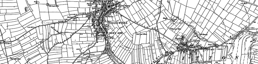 Old map of Tideswell Dale in 1879