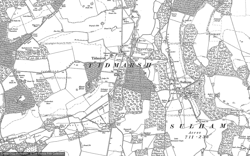 Old Map of Historic Map covering Tidmarsh Manor in 1898