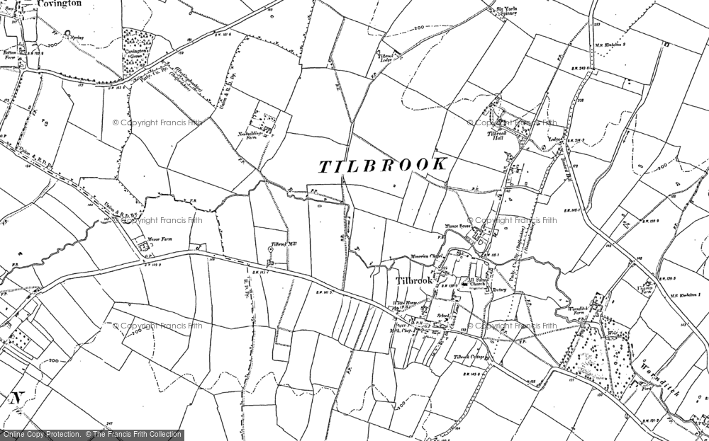 Old Map of Historic Map covering Tilbrook Mill in 1900