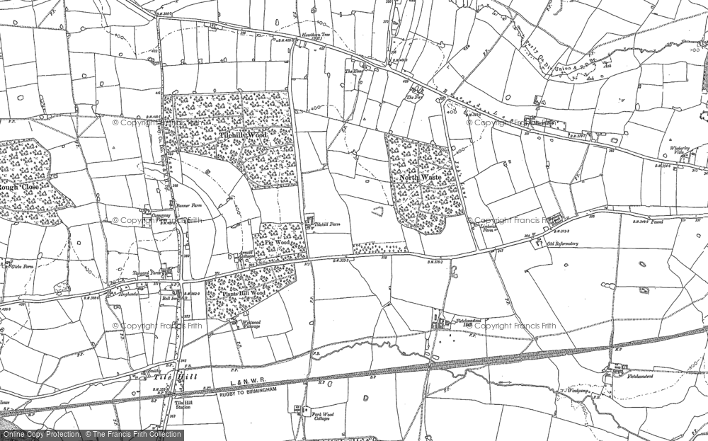 Old Map of Historic Map covering Tilehill Wood in 1886
