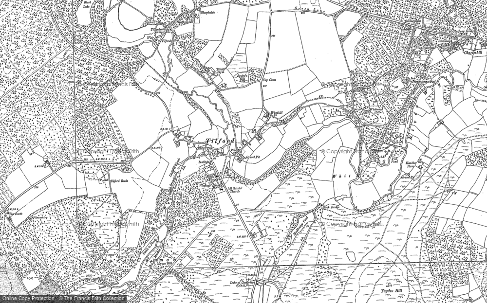 Old Map of Historic Map covering Tilford Common in 1913