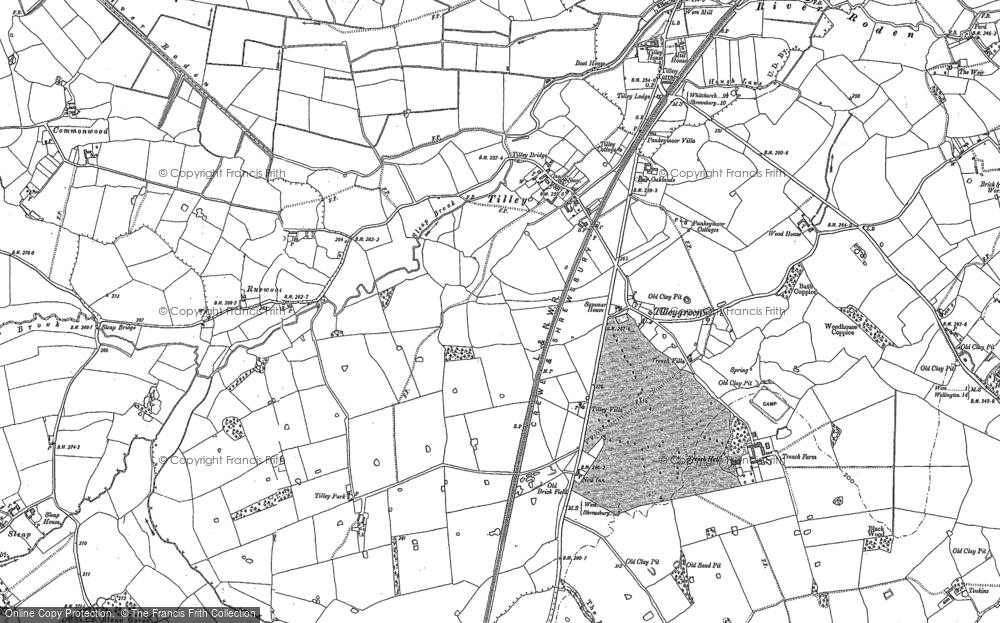 Old Map of Tilley, 1880 in 1880