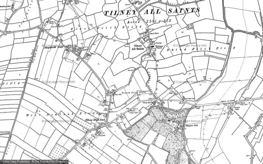 Old Map of Historic Map covering Tilney High End in 1886