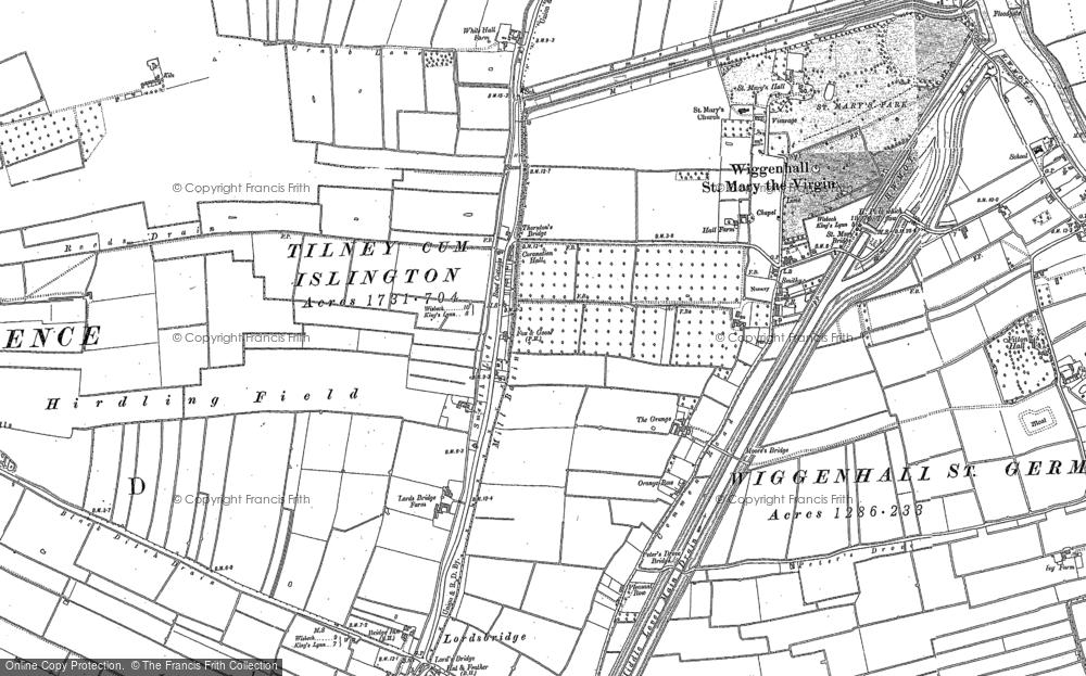 Old Map of Tilney cum Islington, 1884 - 1886 in 1884