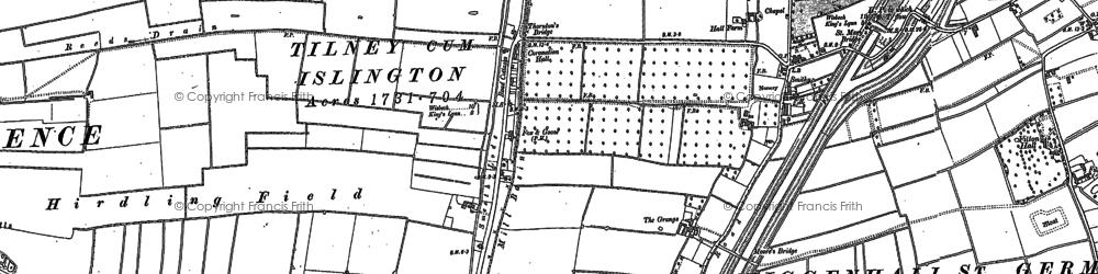Old map of Tilney cum Islington in 1884