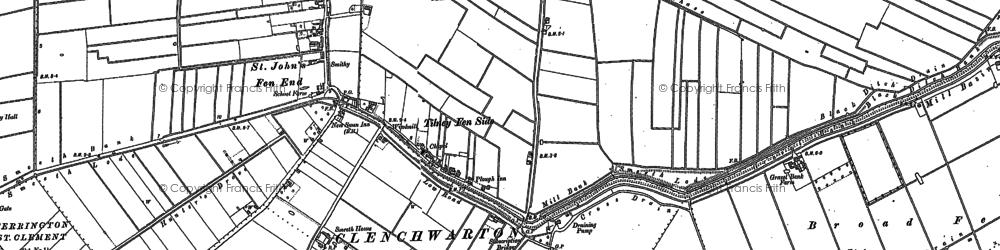 Old map of Tilney Fen End in 1886