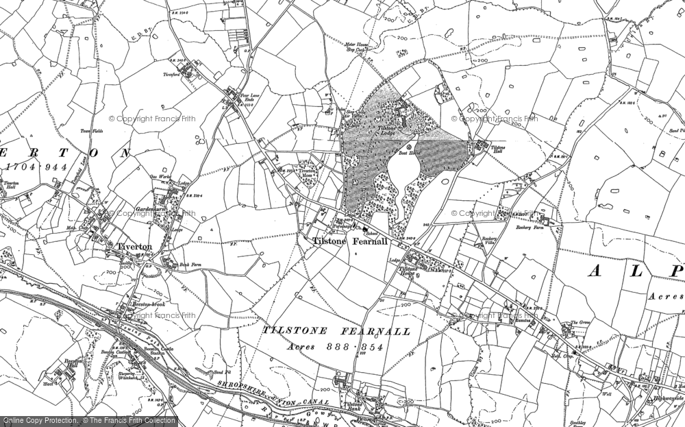 Old Map of Historic Map covering Wettenhall Brook in 1897