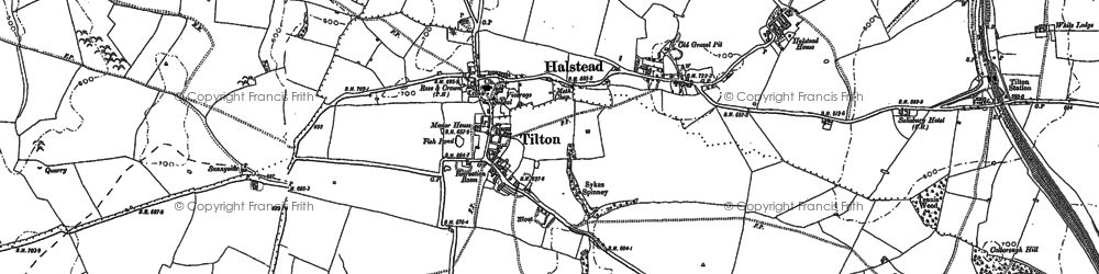 Old map of Tilton on the Hill in 1884