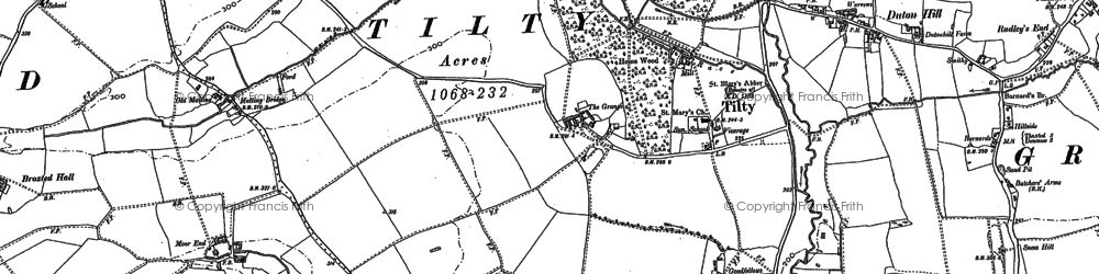 Old map of Tingates in 1876