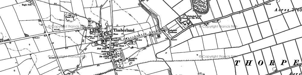 Old map of Timberland in 1887