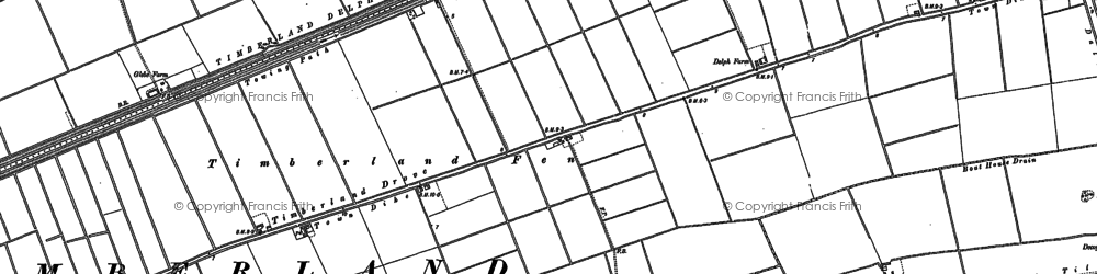 Old map of Timberland Delph in 1887