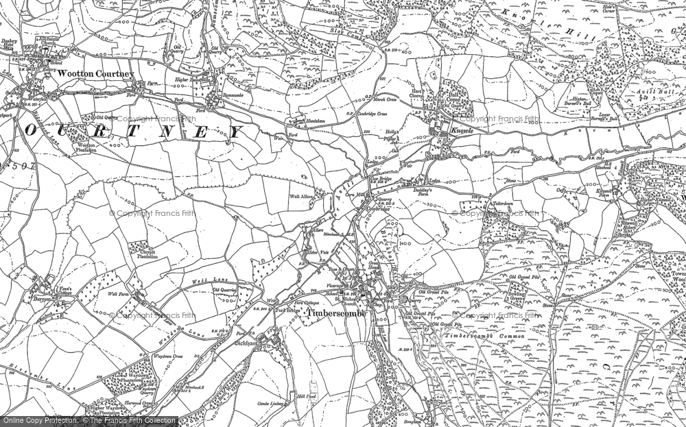 Old Map of Historic Map covering Allercott in 1887
