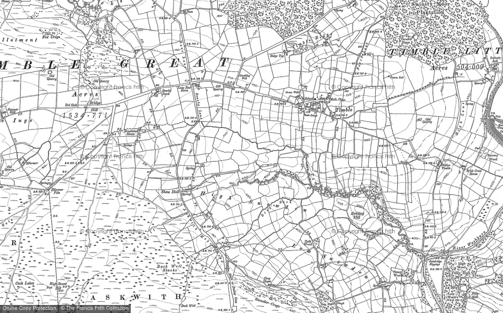 Old Map of Historic Map covering Timble Gill Beck in 1906