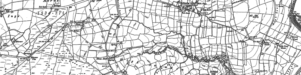 Old map of Timble Gill Beck in 1906