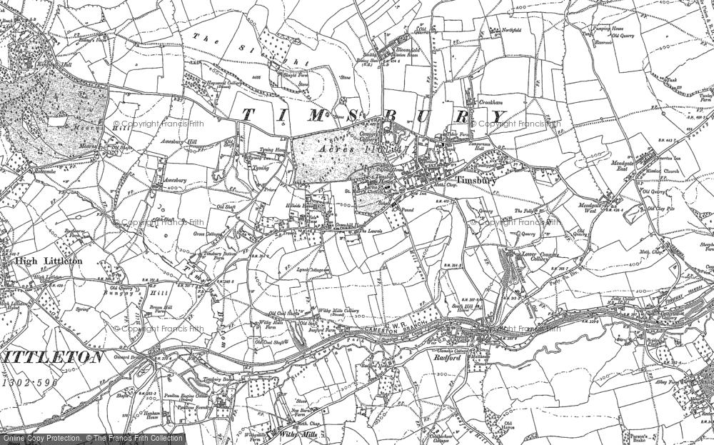 Old Map of Timsbury, 1883 - 1884 in 1883