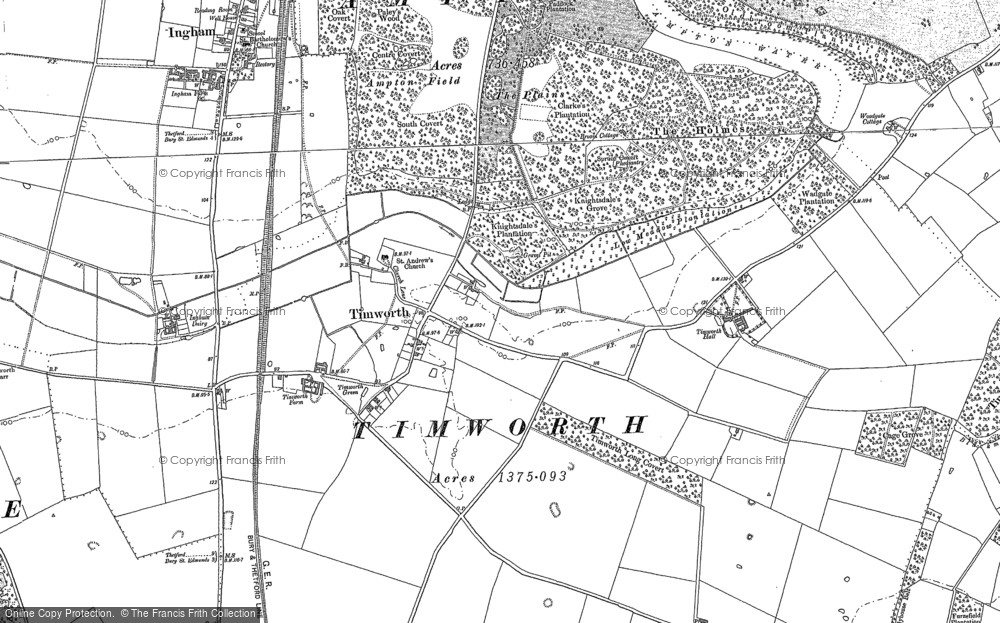 Old Map of Historic Map covering Timworth Green in 1883