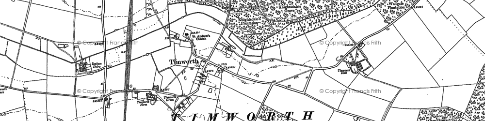 Old map of Timworth Hall in 1883