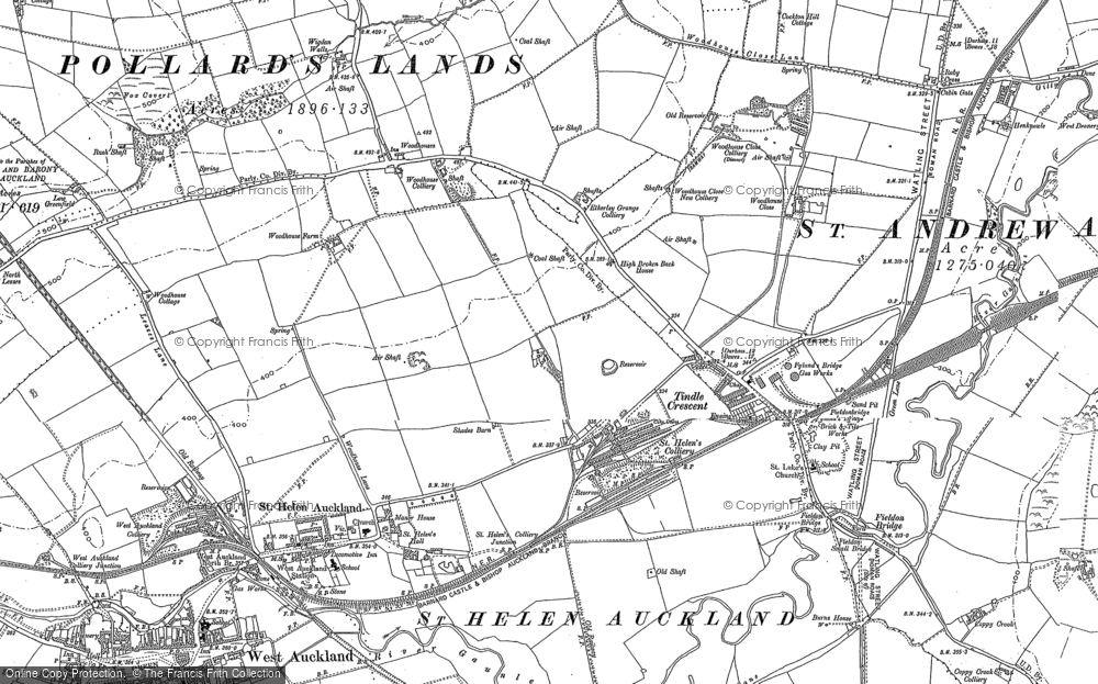 Old Map of Tindale Crescent, 1896 in 1896