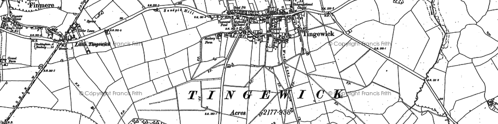 Old map of Tingewick in 1898