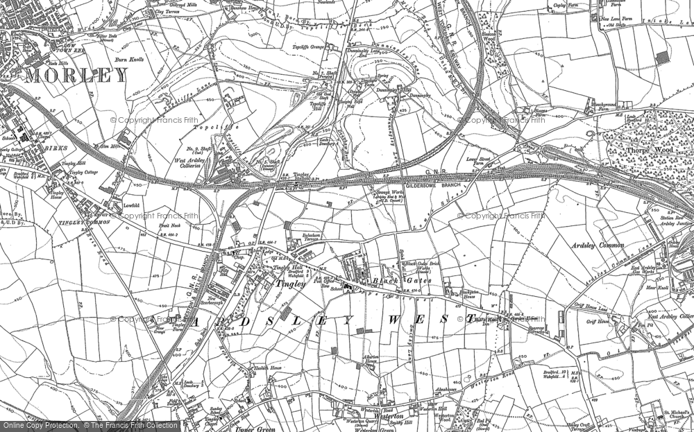 Old Map of Historic Map covering Woodkirk in 1892