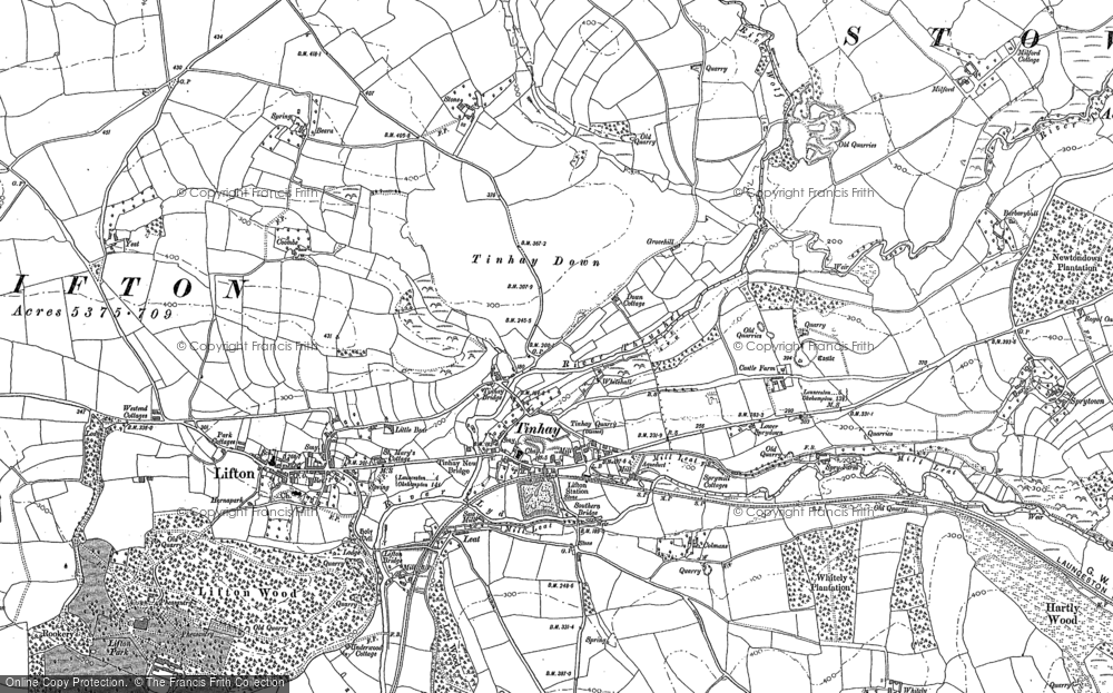 Old Map of Historic Map covering Lifton Park in 1883