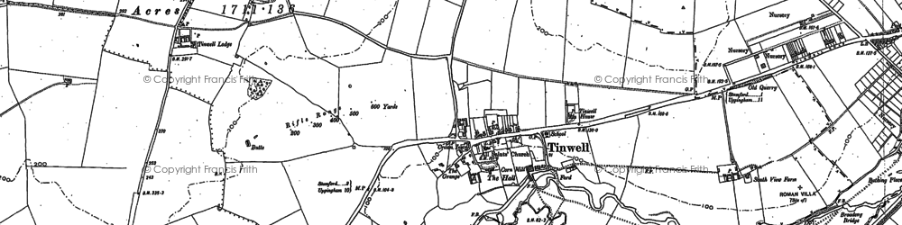 Old map of Tinwell in 1885