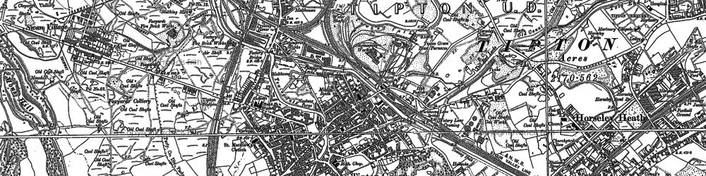 Old map of Tipton Green in 1885