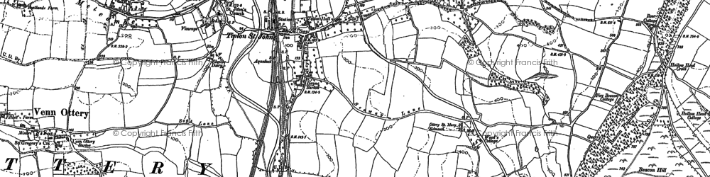 Old map of Tipton St John in 1888
