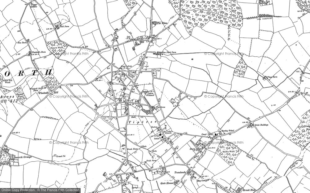 Old Map of Historic Map covering Tiptree Heath in 1895