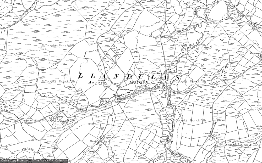 Old Map of Historic Map covering Abergefail in 1886