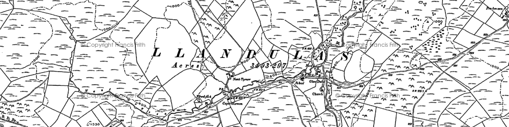 Old map of Abererbwll in 1886
