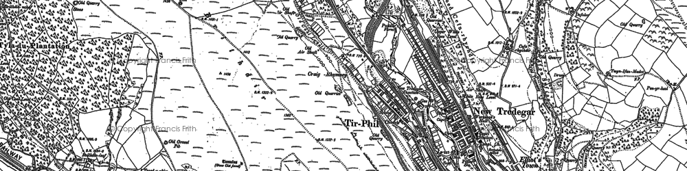 Old map of Tirphil in 1915