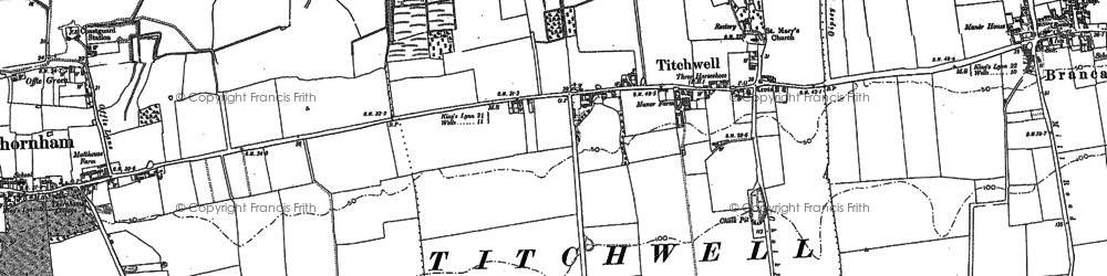 Old map of Titchwell in 1904