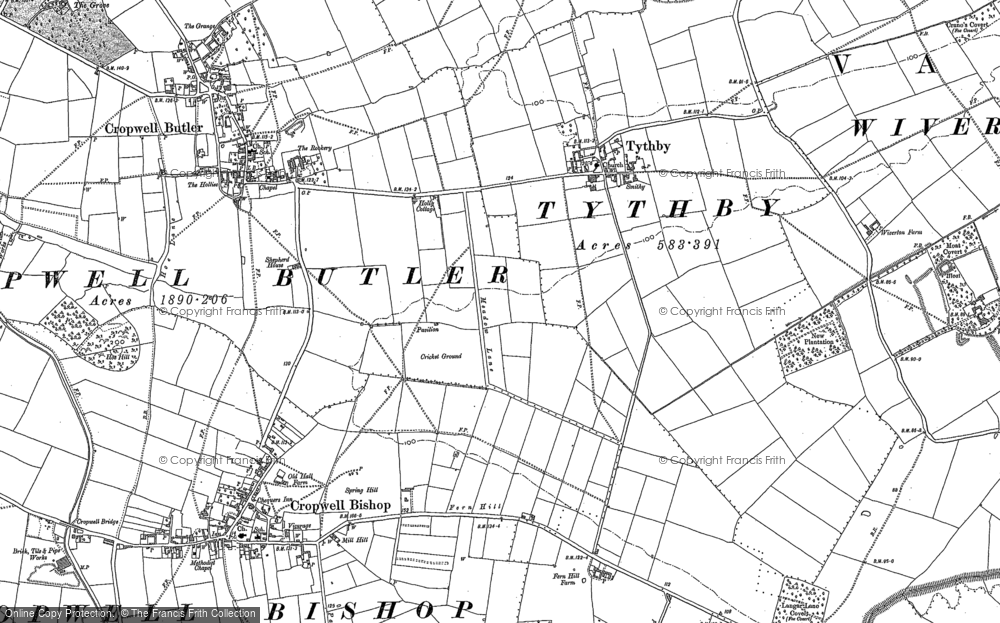 Old Map of Tithby, 1883 in 1883