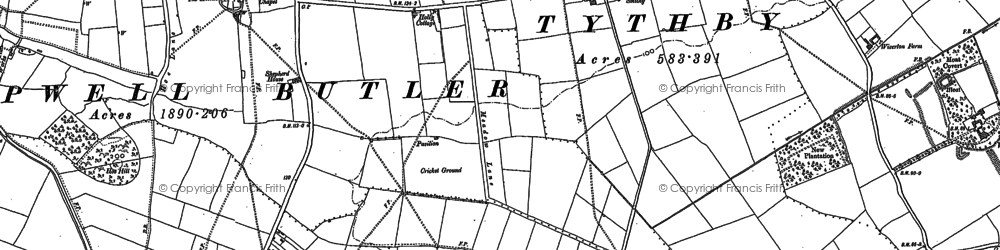 Old map of Tithby in 1883