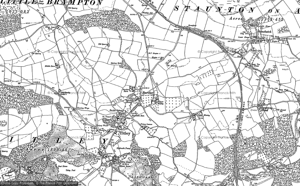 Old Map of Titley, 1885 - 1902 in 1885