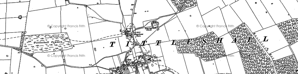 Old map of Tittleshall Hill in 1883