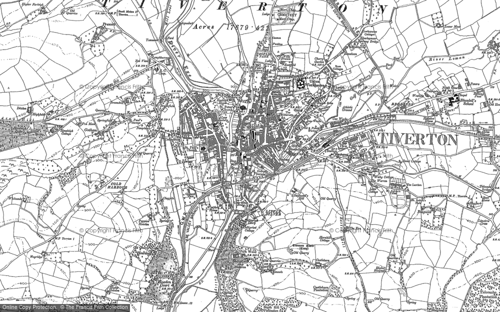 Old Map of Tiverton, 1887 in 1887