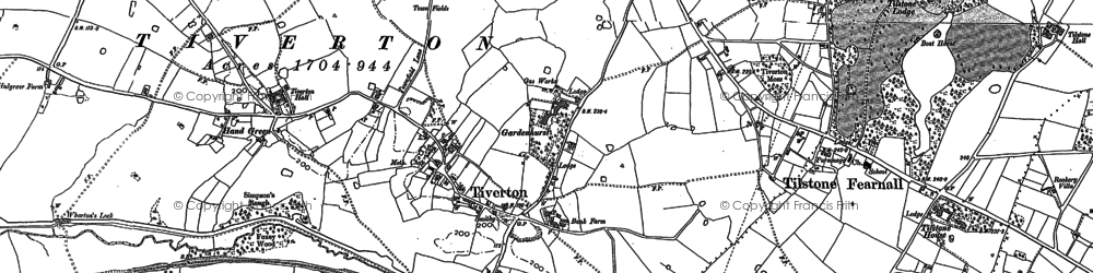 Old map of Tiverton Hall in 1897