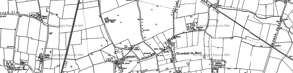 Old map of Tivetshall St Margaret in 1883