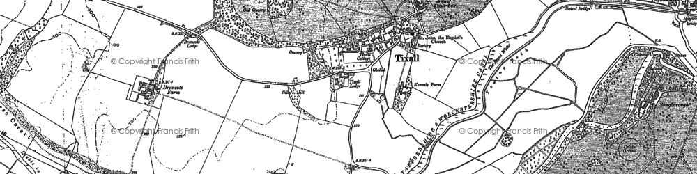 Old map of Tixall in 1880