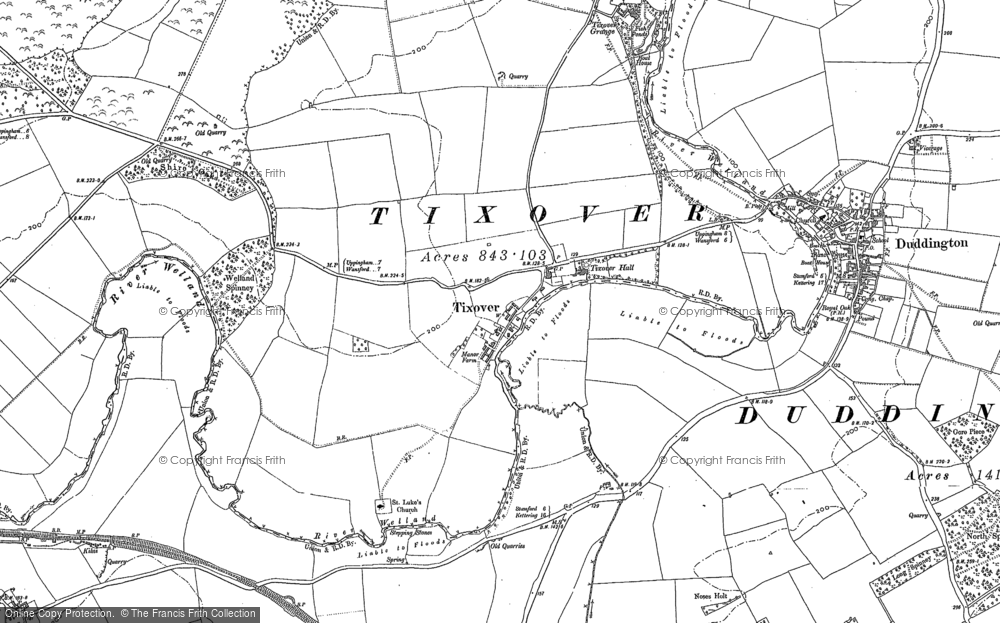 Old Map of Historic Map covering Tixover Grange in 1900