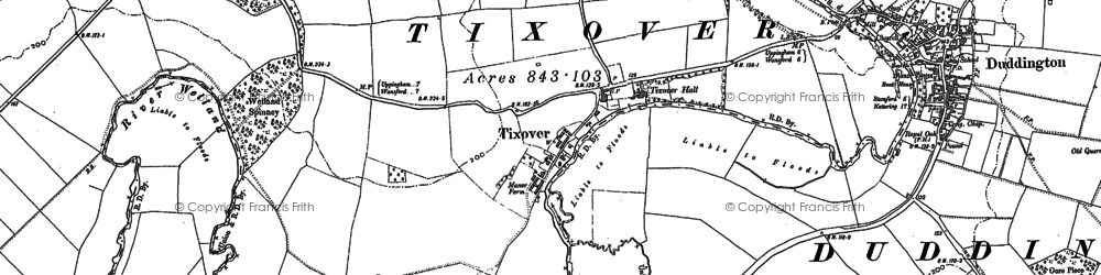 Old map of Tixover in 1900