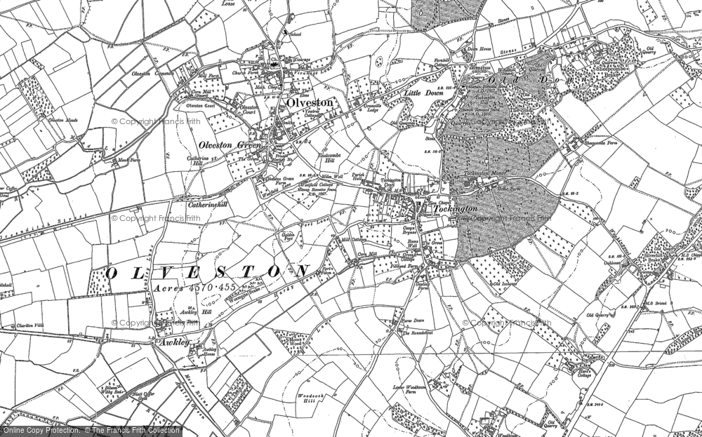 Old Map of Historic Map covering Woodhouse Down in 1880