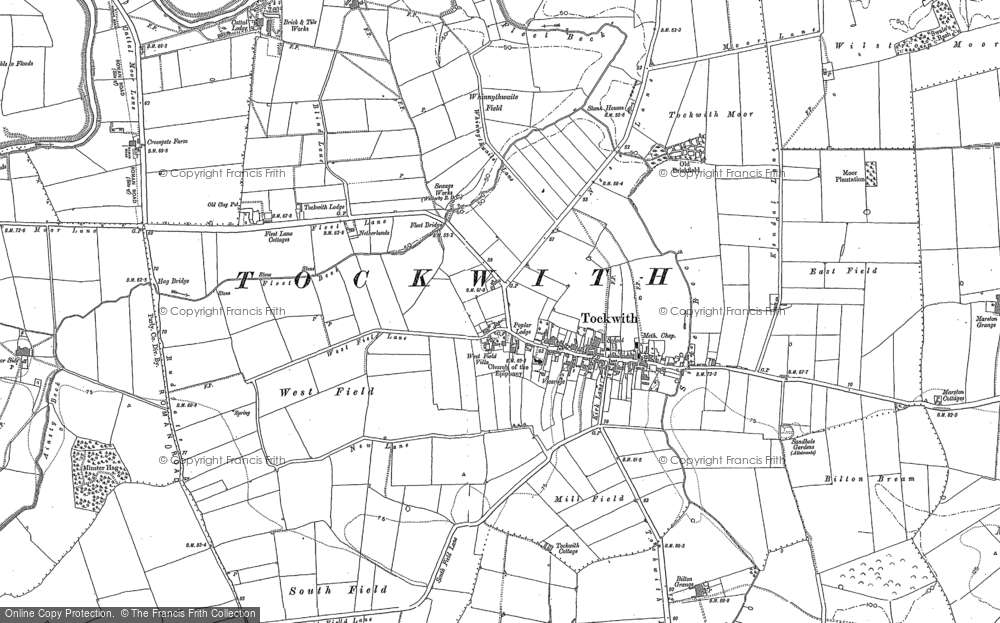 Old Map of Tockwith, 1892 in 1892