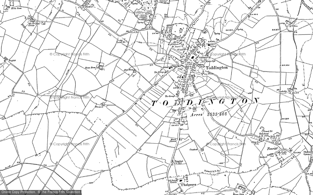 Old Map of Historic Map covering Toddington Manor in 1881