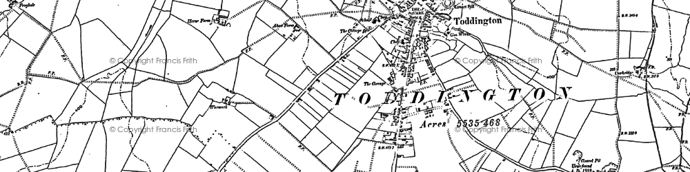Old map of Toddington in 1881