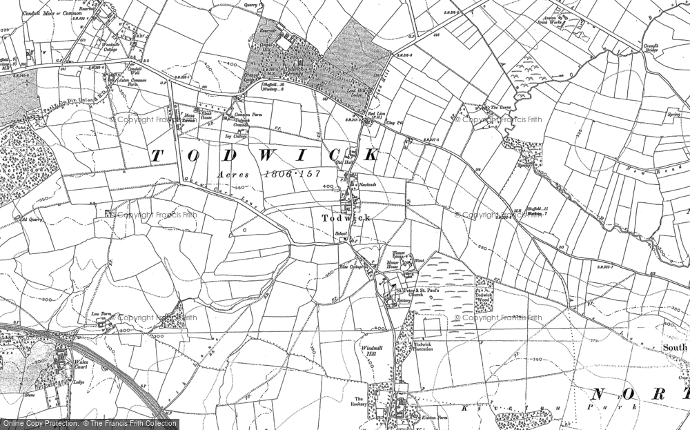 Old Map of Historic Map covering Todwick Grange in 1890